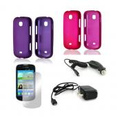 Samsung Galaxy Stellar Essential Girly Bundle Package w/ Hot Pink & Purple Rubberized Hard Case, Mirror Screen Protector, Car & Travel Charger