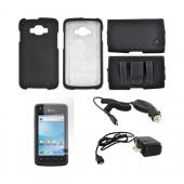 Samsung Rugby Smart i847 Essential Bundle Package w/ Black Rubberized Hard Case, Screen Protector, Leather Pouch, Car & Travel Charger
