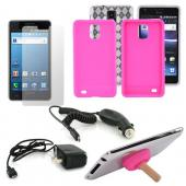 Samsung Infuse 4G Essential Bundle w/ Clear Crystal Silicone Case, Hot Pink Silicone Case, Screen Protector, Car Charger, Travel Charger, & Hot Pink Plunger Stand