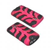 Original Nex Samsung Galaxy Nexus Rubberized Hard Fishbone on Silicone Case w/ Screen Protector, SAMI515FB05 - Rose Pink/ Black