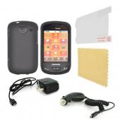 Samsung Brightside Essential Bundle Package w/ Black Rubberized Hard Case, Screen Protector, Car & Travel Charger