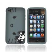 Original Hello Kitty AT&T/ Verizon Apple iPhone 4, iPhone 4S Silicone Case, SANCC0060 - Angry Kitty Face w/ Black Skull Bow on Gray