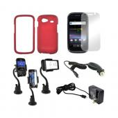 Google Nexus S 4G Essential Bundle Package w/ Red Rubberized Hard Case, Mirror Screen Protector, Macally Suction Mount, Car & Travel Charger