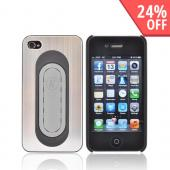 Apple iPhone 4/4S Hard Aluminum Case w/ Pop Out Flexi Stand Holder - Silver/ Gray