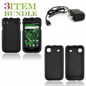 Samsung Vibrant Bundle Package - Black Hard Case, Silicone Case & Travel Charger - (Essential Combo)