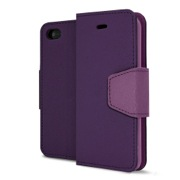 Dark Purple/ Light Purple Faux Leather Diary Flip Stand Case w/ ID Slots, Wrist Strap, & Magnetic Closure for Apple iPhone 5C