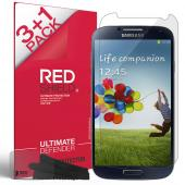 RED SHIELD Value Pack High Definition Ultra Premium 3 Pack Clear Screen Protectors + 1 Free Screen Protector for Samsung Galaxy S4