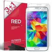 RED SHIELD High Definition Ultra Premium 3 Pack Clear Screen Protectors + 1 Free Screen Protector for Samsung Galaxy S5
