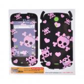 Smart Touch Skin Samsung Vibrant Protective Skin - Pink Skulls on Black