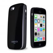 Black AccessoryGeeks SlimTough Dual Layer Hard Cover on Silicone Shell w/ Hidden Card Slot for Apple iPhone 5C