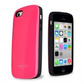 Apple iPhone 5C SlimPack Hot Pink Dual Layer Hard Cover on Silicone Shell w/ Hidden Card Slot