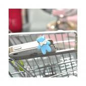 Universal 3.5mm Headphone Jack Stopple Charm - Baby Blue Bear w/ White Bow
