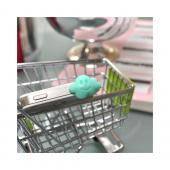 Universal 3.5mm Headphone Jack Stopple Charm - Mint Green Cloud