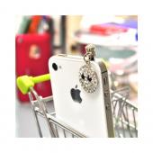 Universal 3.5mm Headphone Jack Stopple Charm - Bling Happy Face