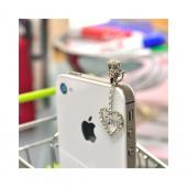 Universal 3.5mm Headphone Jack Stopple Charm - Bling Love Heart