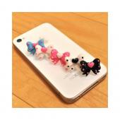 3.5mm Headphone Jack Stopple Charm - Aqua Blue Ribbon Bow w/ Pink Heart & Dots