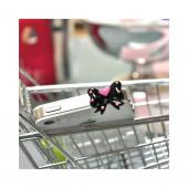 Universal 3.5mm Headphone Jack Stopple Charm - Black Ribbon Bow w/ Pink Heart & Dots
