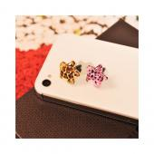 Universal 3.5mm Headphone Jack Stopple Charm - Brown/ Black Leopard Star