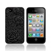 Original SwitchEasy AT&T/ Verizon Apple iPhone 4, iPhone 4S Blossom Snap-On Hard Case w/ Screen Protector, SW-BLO4S-BK - Black Roses