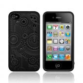 Original SwitchEasy AT&T/ Verizon Apple iPhone 4, iPhone 4S Clockwork Snap-On Hard Case w/ Screen Protector, SW-CW4S-BK -  Black Gears