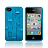 Original SwitchEasy AT&T/ Verizon Apple iPhone 4, iPhone 4S Avant-Garde Plank Hard Case w/ Screen Protector, SW-PLAS4-BL - Turquoise Blue Wood Planks