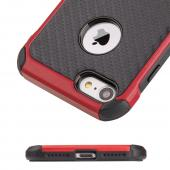 Apple iPhone 7 (4.7 inch) Case, Tough Hybrid Case [Black TPU] + [Red] Hard Cover W/ Carbon Fiber Design