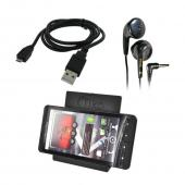 T-Mobile G2 Bundle Package - Micro USB Charge n' Sync Data Cable, Maxell Stereo Earbuds & Tiko Folding Stand - (Workaholic Combo)