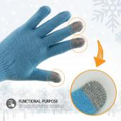 Capacitive Touch Screen Gloves (One Size) - [Sky Blue/ Gray]