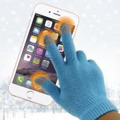 Universal Capacitive Touch Screen Gloves (One Size) - Sky Blue/ Gray