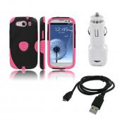 Samsung Galaxy S3 Bundle w/ Pink/ Black Aegis Hard Case Over Silicone, Screen Protector, Dual USB Car Charger Adapter & Micro USB Data Cable