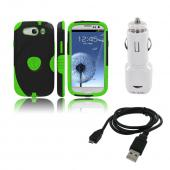 Samsung Galaxy S3 Bundle w/ Lime Green/ Black Aegis Hard Case Over Silicone, Screen Protector, Dual USB Car Charger Adapter & Micro USB Data Cable