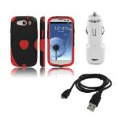 Samsung Galaxy S3 Bundle w/ Red/ Black Aegis Hard Case Over Silicone, Screen Protector, Dual USB Car Charger Adapter & Micro USB Data Cable