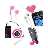 Universal Summer Pink Bundle Package w/ Hot Pink iSound Portable Speaker, Pink 3.5mm Earbuds, Pink Heart Headset Splitter, & Pink Suction Ball Stand
