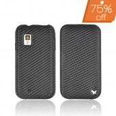 Original Zenus Samsung Fascinate i500 Prestige Leather Case Carbon Folder Series - Black