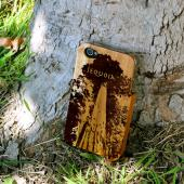TPhone Eco-Design AT&T/ Verizon Apple iPhone 4, iPhone 4S 100% Teak Hard Wood Back Cover Case w/ Screen Protector - Sequoia Tree [ENGRAVING]