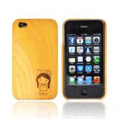 Exclusive Tphone Eco-Design Apple iPhone 4 100% Wood Hard Back Cover w/ Cute Girl w/ Bow Engraving - Jack Fruit Wood