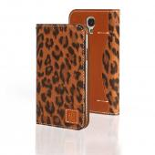 Brown Leopard Wetherby Premium Basic Series Handcrafted Leather Case Wallet w/ ID Slots for Samsung Galaxy S4