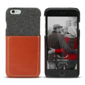 Apple iPhone 6/6S (4.7 inch) DesignSkin Wetherby Pocket Bar-Type : 100% Handcrafted ID Credit Card Storage Genuine Cow Leather Simple Unique Luxurious [Gray / Red Brown]